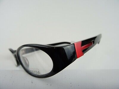 Schwarz-rote Brille Damenfassung aus Kunststoff ovale Gläser breite Bügel Gr. M