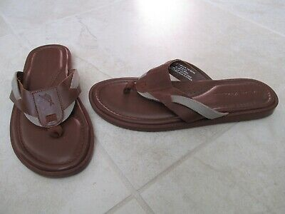 NEW Tommy Bahama Wexler Leather /Canvas Thong Sandals MENS 11 Cognac Brown Mens Leather Thong Sandals