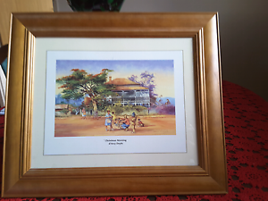 WOODEN  FRAME   CHRISTMAS  MOR NING  PRINT  by  d,ARCY  DOYLE Fulham Gardens Charles Sturt Area Preview