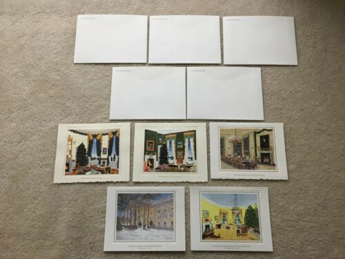 5 Official White House Christmas Cards + envelopes 95,96,98-00-President Clinton