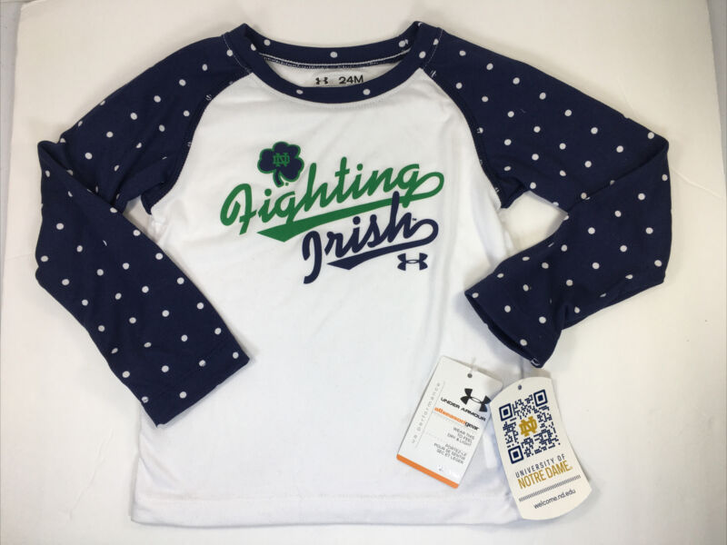 UNDER ARMOUR Notre Dame Fighting Irish Toddler Girls Shirt 24 Months L/S *NEW*