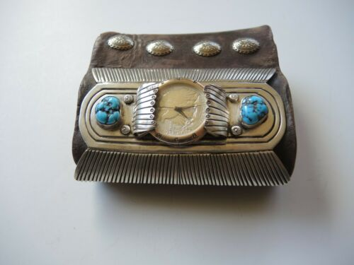 Vintage Native American, Navajo Ketoh Bowguard Turquoise Sterling Silver