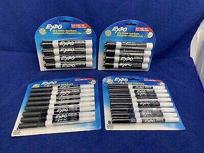 New Lot Of 24 Black Expo Dry Erase Markers X8 Chisel X16 Fine 80661c 2114555