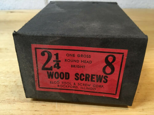 "144 NOS #8 x 2-1/4"" Bright Steel Round Head Wood Screws w/ Box Slotted USA"