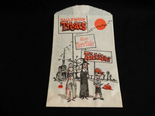 Vintage Halloween Paper Candy Trick or Treat Bag-Super Cute-RARE Back