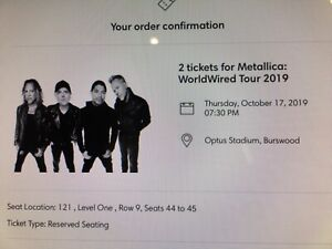 2x Metallica 2019 tickets level 1 reserved seating