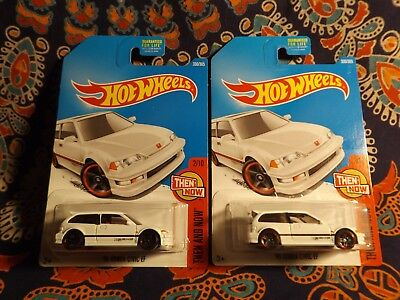 TWO 2017 Hot Wheels '90 HONDA CIVIC EF WHITE US P & Q Case Card Combine Shipping