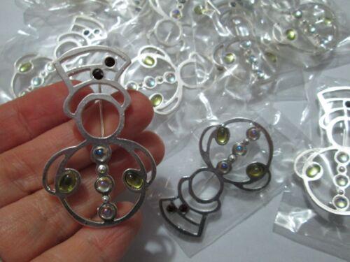 (10) Festive Christmas Snowman Pin Brooch LOT Rhinestones winter silver AB stone