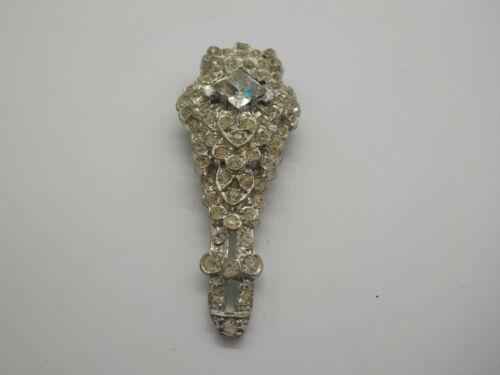 Vintage 1930 Art Deco Silver Tone Rhinestone Dress Fur Clip Unsigned