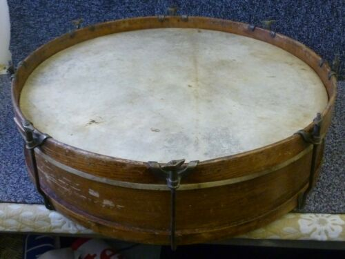 Antique Marching Bass Drum Wooden Sides & Hoops 23.75