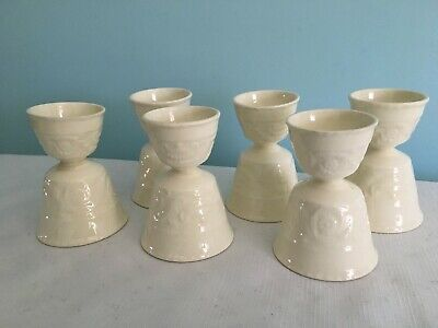 Set of 6 Vintage Matching Porcelain Embossed Ivory White 4