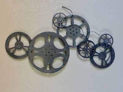 Movie Reels Decor Wall Hanging Metal Sculpture Steampunk Bronze LARGE 32