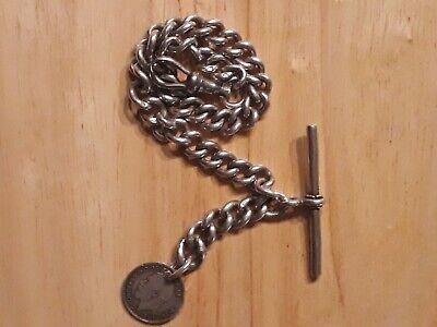 Heavy Victorian Solid Sterling Silver Albert Pocket Watch Chain & T-Bar Bir 1887