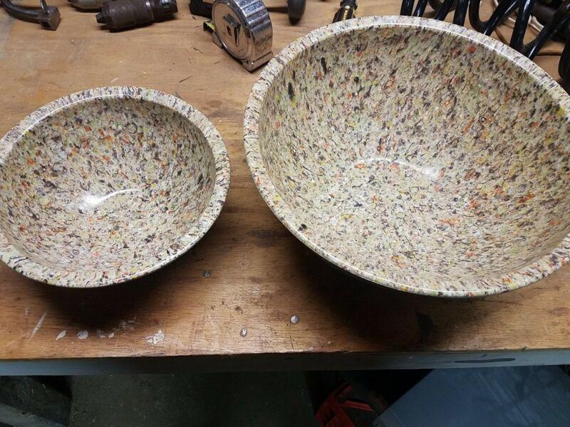 "Vintage Brookpark Confetti Melamine  Melmac nesting Bowls 11.1/4"" and 8 1/4"""