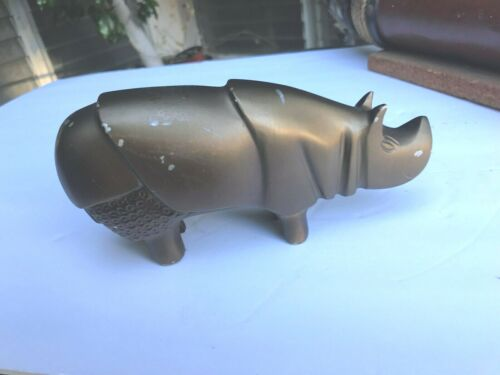 Art Deco Cubist Style Hippo Hippopotamus Metal