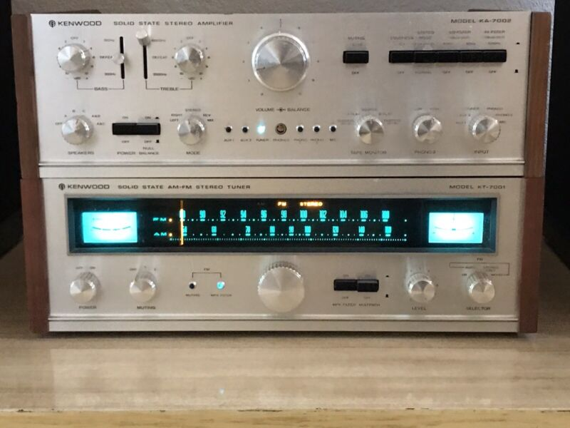 classic 1971 Paired Tuner Amp KENWOOD KT 7001 w/ box KA 7002 ~ MINTY SWEET A+
