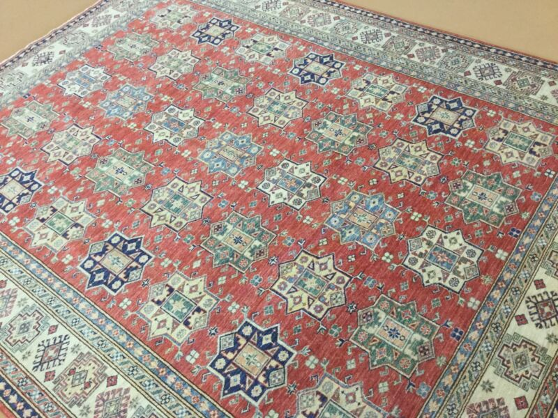 8 X 10 Red Fine Super Kazak Persian Oriental Area Rug Hand Knotted Geometric