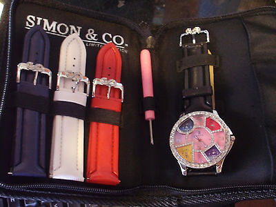 Simon & Co SilverFinish CZ Bezel 1 Time Zone Men's Large Fashion Watch Set