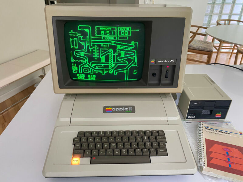 Vintage Apple II Plus Computer, Monitor III , Disk Drive - Clean and Working