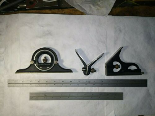 """Starrett Combination Square Set With 12"""" And 18"""" Rulers, Pre-owned"""