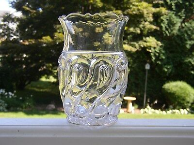Antique EAPG Flint Glass Crystal CELERY VASE Jar Holder QUESTION MARK Oval Loop ()