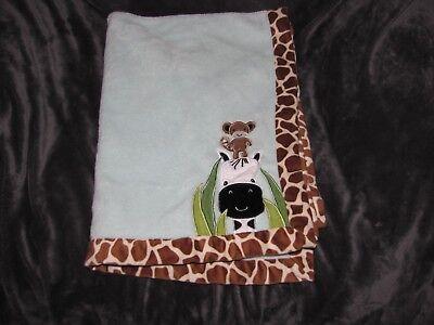 Lambs & Ivy Peek A Boo Jungle Monkey Giraffe Zebra Plush Baby Blanket 30