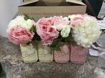 Cracker Barrel Silk Flowers in Mason Jars Arrangement](Flowers In Mason Jars)