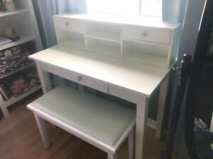 White desk / dressing table and bench