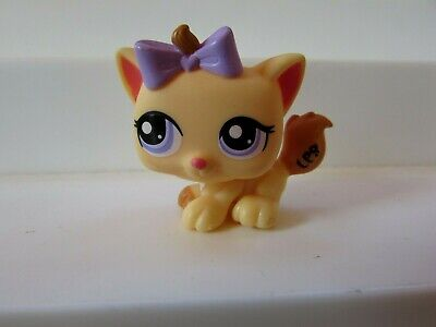 Littlest Pet Shop Baby Kitten Cat Yellow With Purple Eyes And Bow