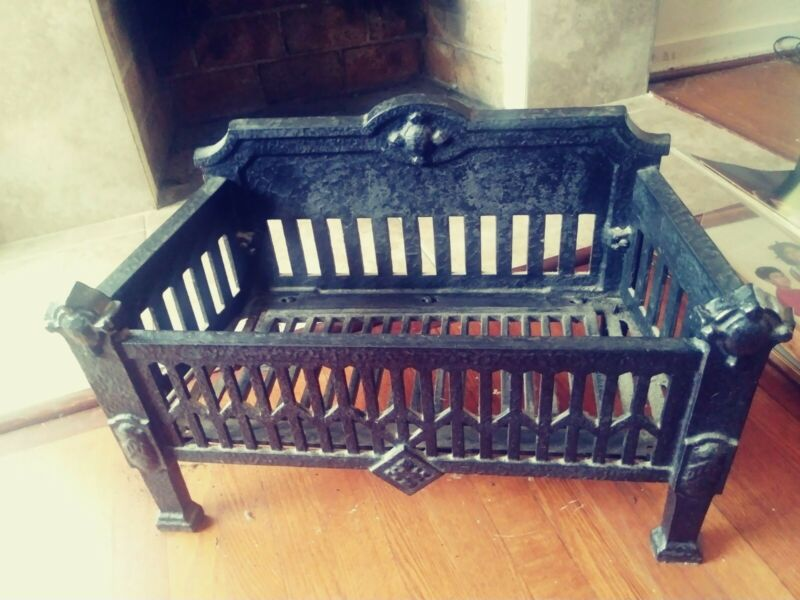 Antique Vintage Cast Iron Fireplace Grate Log Wood Coal Holder