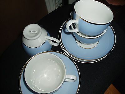 Bruce Oldfield Doulton china  duck egg blue + white  tea cups + saucers x 4 vgc