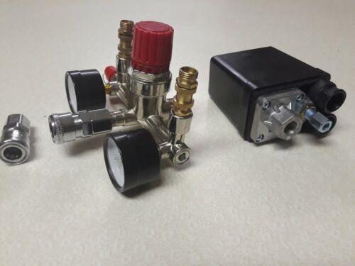 Air Compressor Pressure Control Switch Valve Manifold Regulator W/ Gauges Relief - $14.80
