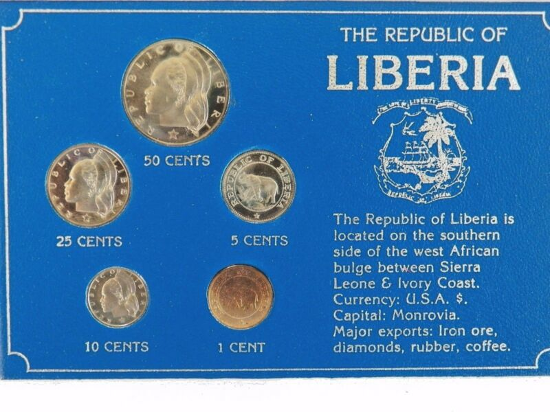 1973- THE REPUBLIC OF LIBERIA UNCIRCULATED 5 COINS SET . RARE PROOF SET !