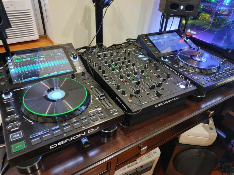 Denon SC6000 PRIME DJ Media Players Pair w X1850 PRIME Mixer w/ Decksaver Covers