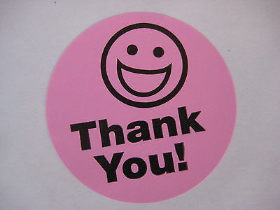 500 BIG THANK YOU SMILEY LABEL STICKERS Pink - Thank You Smiley