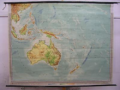 Schulwandkarte Wandkarte Karte Australien Neuseeland Südsee Pazifik 208x160 1957