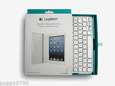 New Logitech Wireless Ultrathin Keyboard Cover for iPad mini 920-005106 - White