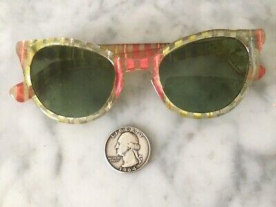 VTG 1950'S CAT EYE GLASSES WOMENS FASHION FRAMES R/X CLEAR LUCITE ATOMIC (1950s Glasses Frames)