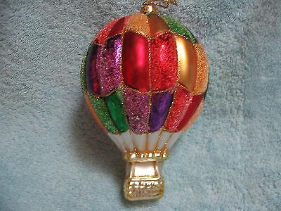 Dazzling Hot Air Balloon Glass Ornament - Shimmering Jewel Tone Colors Souvenir