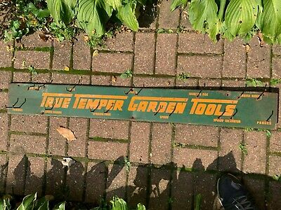 Vintage True Temper Garden Tools Metal Sign w/Hooks for Tools