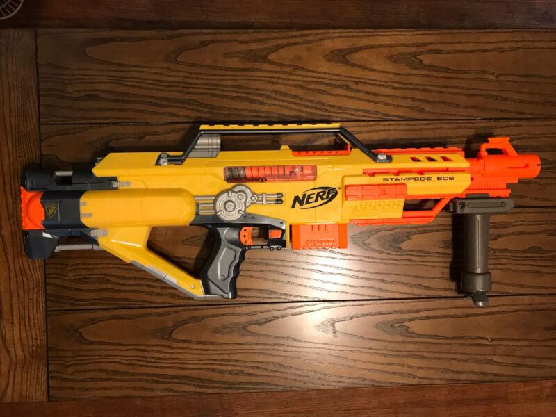 "Nerf Stampede ECS N-Strike Automatic Blaster Dart Gun with Clip & tripod ""Works"""