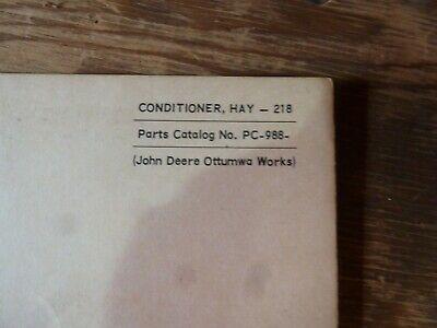 John Deere 218 Hay Conditioner Parts Catalog Manual Book Original Pc-988