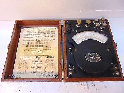 Weston Electrical Wattmeter Model 310 No. 6910 In Wooden Box S5402