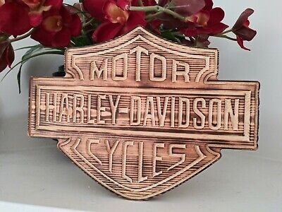 Rustic Wood Plaque (Rustic Burned Wood Harley Davidson Plaque Made To)