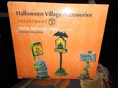 DEPT 56 HALLOWEEN VILLAGE Accessory SCARY WARNING SIGNS  NIB  (Halloween Village Collectibles)