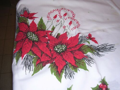 Vintage Christmas Print Cotton Tablecloth Red POINSETTIAS & CANDLES  68x 52