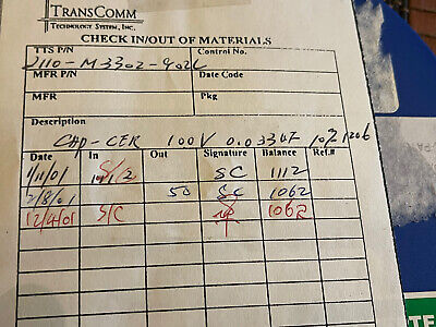 Ceramic Capacitor .033 Uf 100v Smd 1206 200 Pcs