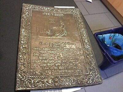 Old brass Arts and crafts plaque with poem about mother