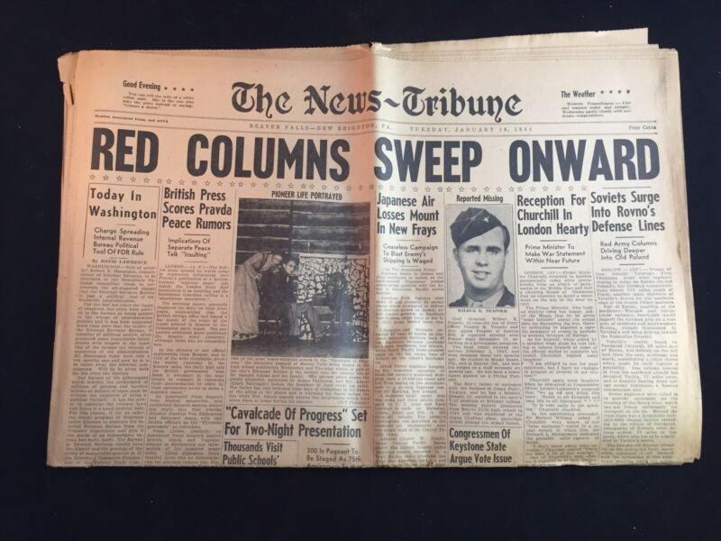 "Vintage 1944 WWII The News-Tribune ""Red Columns Sweep Onward"" Newspaper"
