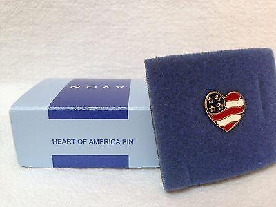 HEART OF AMERICA FLAG PIN - NIB AVON 2001 AMERICAN FLAG HEART - American Flag Heart Pin